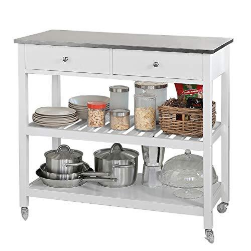 Servierwagen weiß – Küchenwagen mit Edelstahlplatte, 2 Schubladen und 2 Ablagen, 100x45x92cm