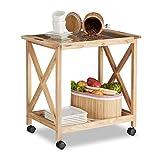 Relaxdays Küchenwagen Holz auf Rollen, 2 Etagen Servierwagen, Rollwagen mit Glasplatte, HxBxT: 63 x 66,5 x 38 cm, natur