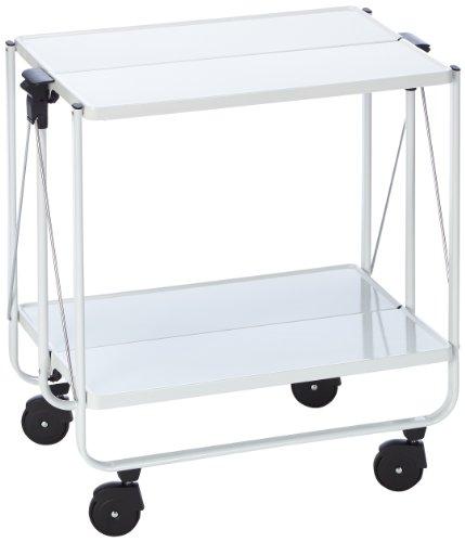 Küchenwagen mit Rollen, klappbarer Servierwagen mit 2 Ebenen, weiß, Leifheit Side-Car, schnell auf- und abbaubar