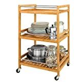 SoBuy FKW11-N Küchenwagen mit 4 Rollen und 3 Ablagen Servierwagen für Küche Badrollwagen aus Bambus BHT: ca. 46x76x38cm