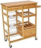 Zeller 13775 Küchenrollwagen m. Bambootop, Bamboo, ca. 66 x 36 x 84 cm